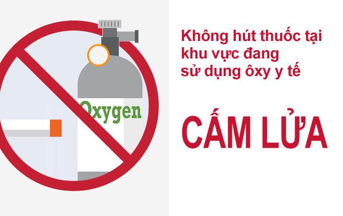 Cấm lửa tại khu vực để bình khí Oxy y tế